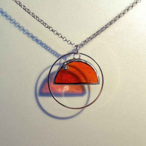 Collier Lunea Perle, en verre orange bullé